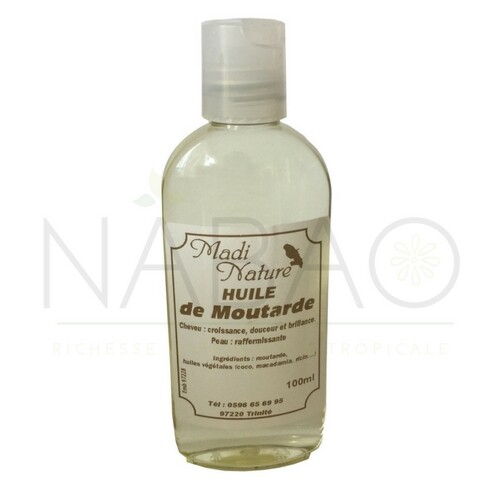 huile de moutarde corps et cheveux Madi Nature 100ml www.nabao.fr
