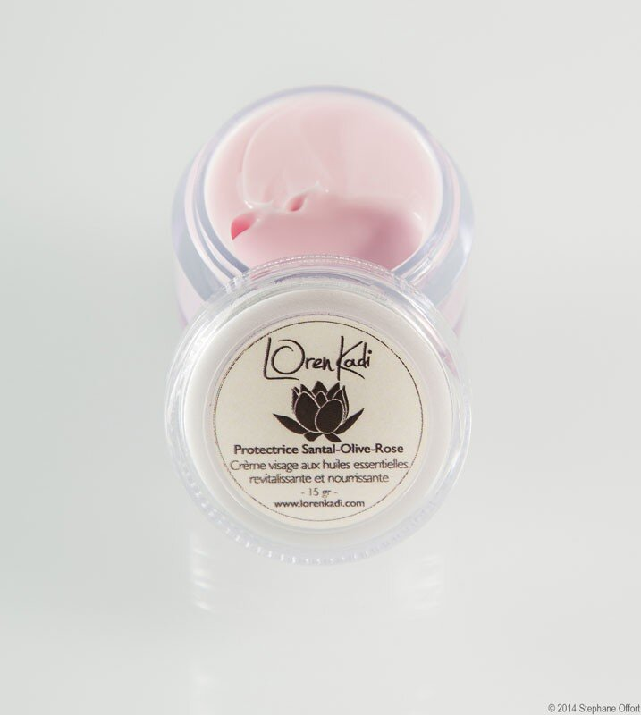 "Mini Crème ayurvédique naturelle ""Protectrice Santal-Olive-Rose"" Loren Kadi 10 gr www.nabao.fr"