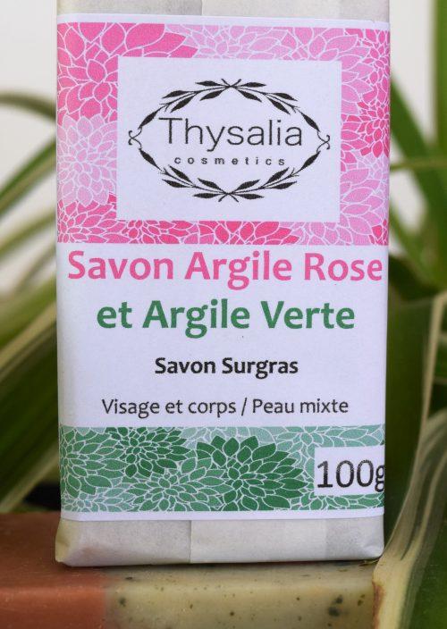 Savon surgras visage et corps Argile Rose et Verte Thysalia 100gr